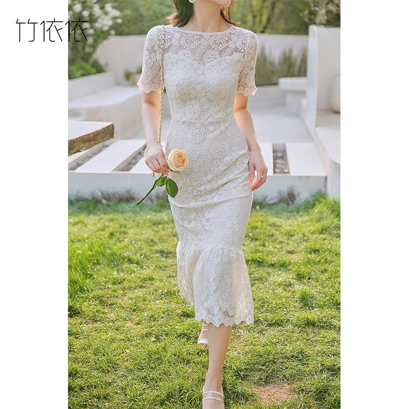 白色蕾丝连衣裙女夏2020中长款法式收腰修身显瘦鱼尾温柔仙女裙子图片