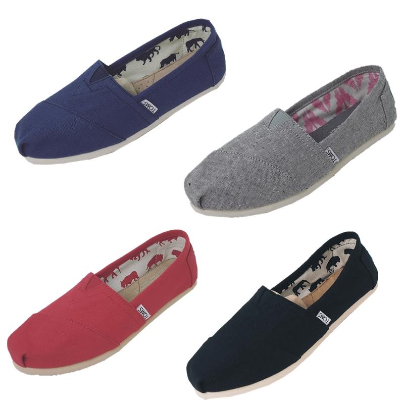 TOMS经典款纯色帆布鞋女鞋休闲鞋懒人一脚蹬套脚鞋女鞋