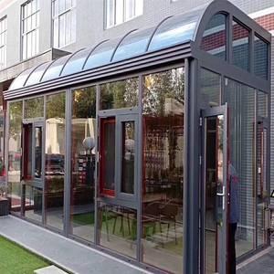 浙江欧式别墅弧形顶阳光房露台断桥铝合金门窗封阳台玻璃房定制