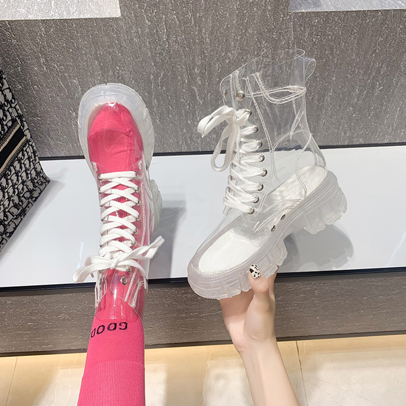 Transparent shoes jelly rain shoes beautiful rain boots thick soled waterproof shoes womens water boots short tube fashion wear anti slip summer