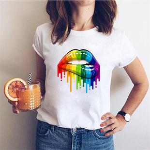 夏季新款女士T恤亞馬遜熱銷網紅同款ins潮卡通嘴唇印花莫代爾棉