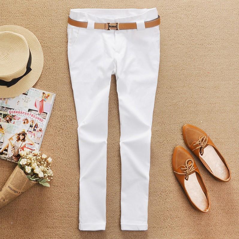 9-point pants, leggings, slim women, cotton casual pants, trendy pencil pants, solid low waist, Korean versatile white