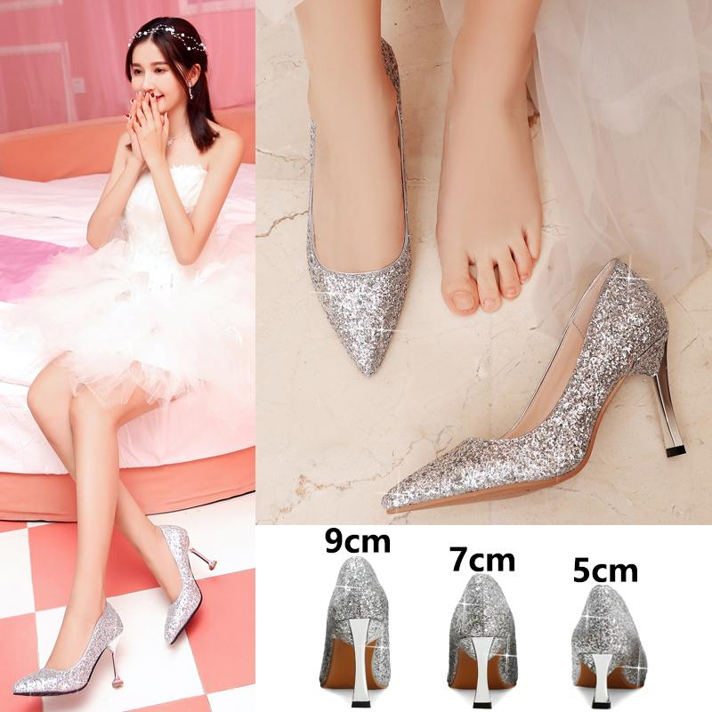 Wedding shoes women 2019 new bride shoes silver wedding shoes high heels Korean crystal shoes toast shoes wedding dress middle heel