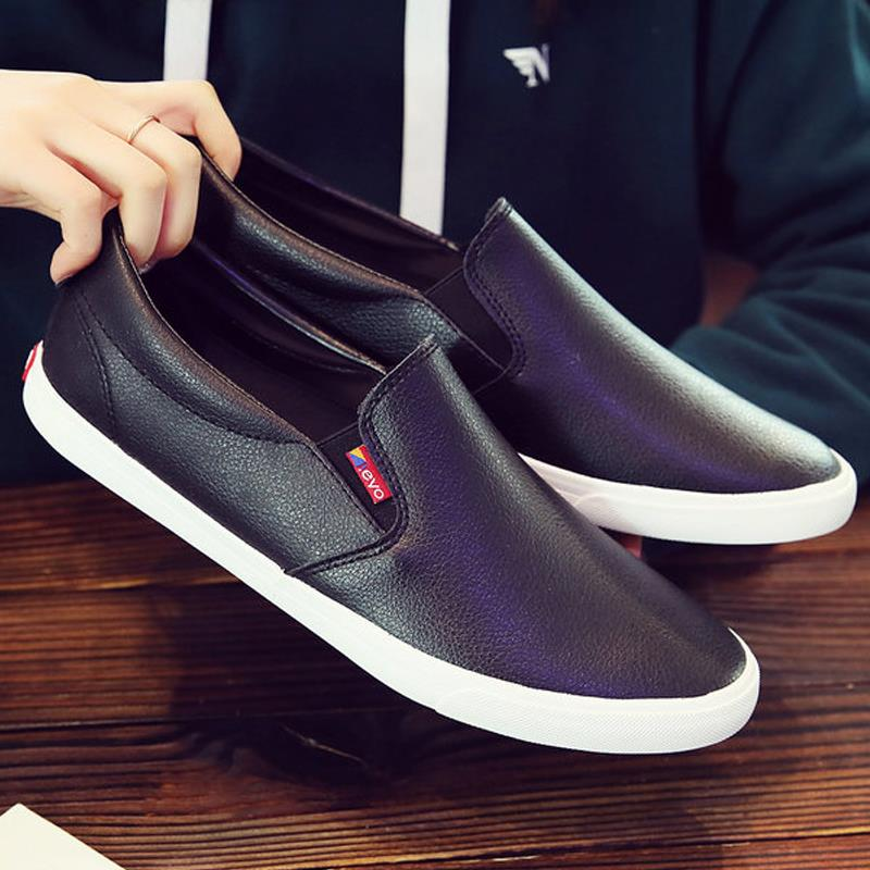 One foot full driver black mens shoes spring single lining panel shoes shoeless slob shoes waterproof chef lofoy shoes
