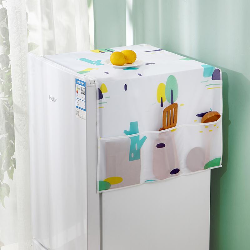 冰箱盖布单开门家电洗衣机顶防尘罩盖巾垫子侧面收纳挂袋防水防油