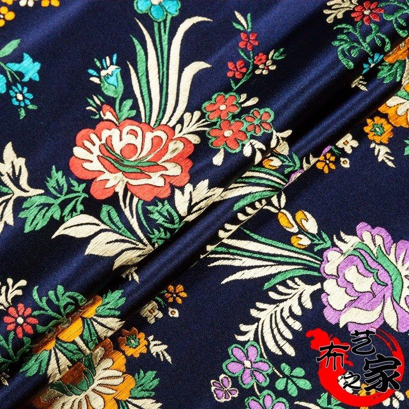 衣服唐装中式碎布头缎子布料加厚绸缎纯色旗袍刺绣黑色织锦缎被面