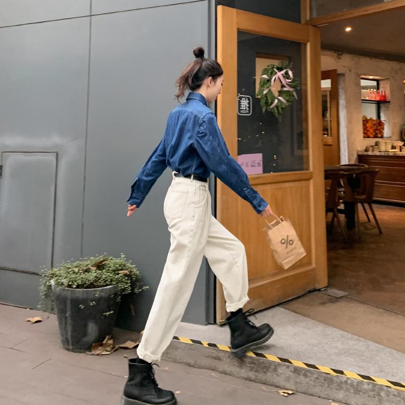 郭九九呢 牛仔衬衫女春装2020款设计感小众百搭蓝色长袖衬衣上衣