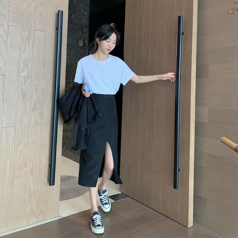 郭九九呢开叉半身裙女夏2021春装中长款不规则高腰黑色A字裙子
