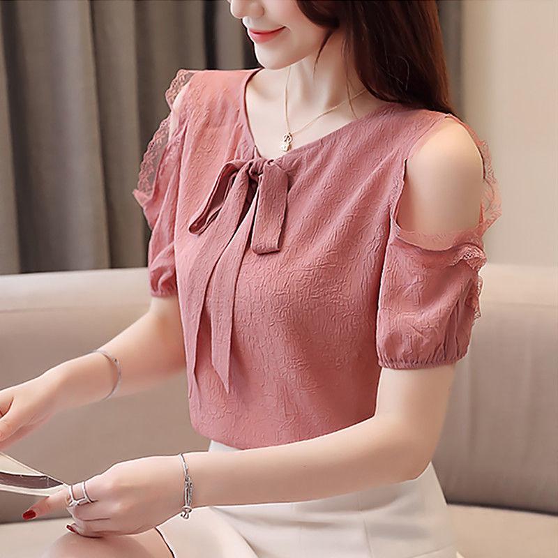 雪纺衫女短袖2021新款夏季女装韩版时尚洋气打底衫气质露肩上衣女