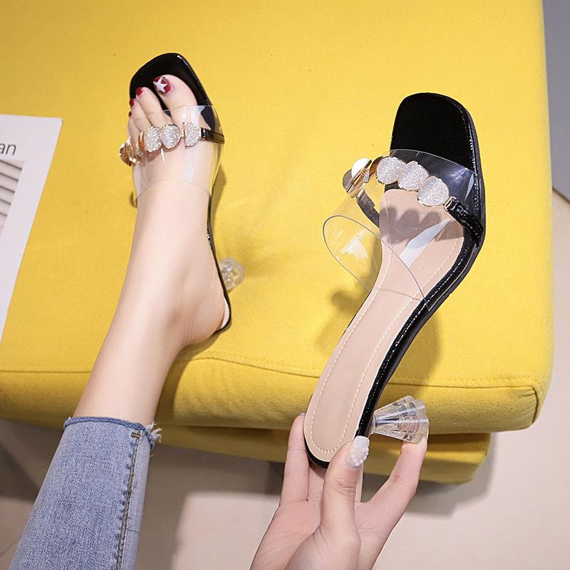 中国拖鞋拖鞋女外穿夏2019日本时尚百搭网红中跟新款女士高跟鞋水(非品牌)
