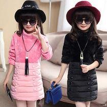 女童秋冬加绒卫衣韩版中长款打底衫中大童女孩保暖绒衫包臀连衣裙