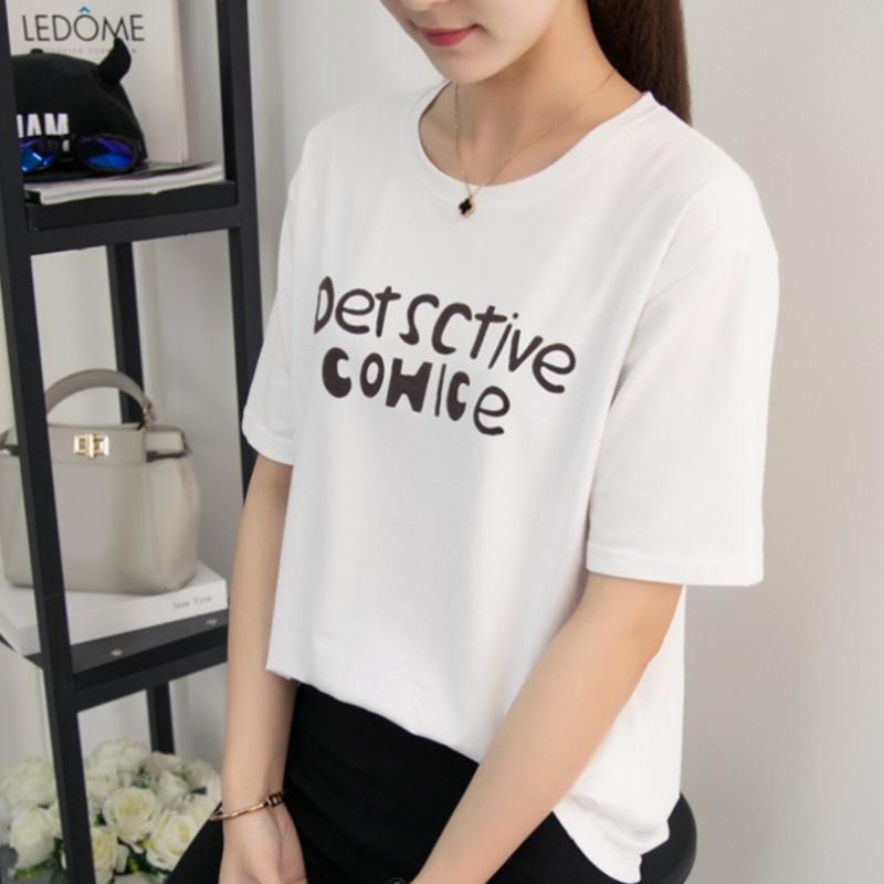 夏天短袖T恤丅血体桖宽松款长衫长装女装胖妹胖妞上衣服2019胖新