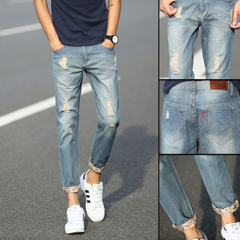 Broken hole nine point jeans mens elastic slim legged pants for male students Korean Trend 9-point pants Korean casual