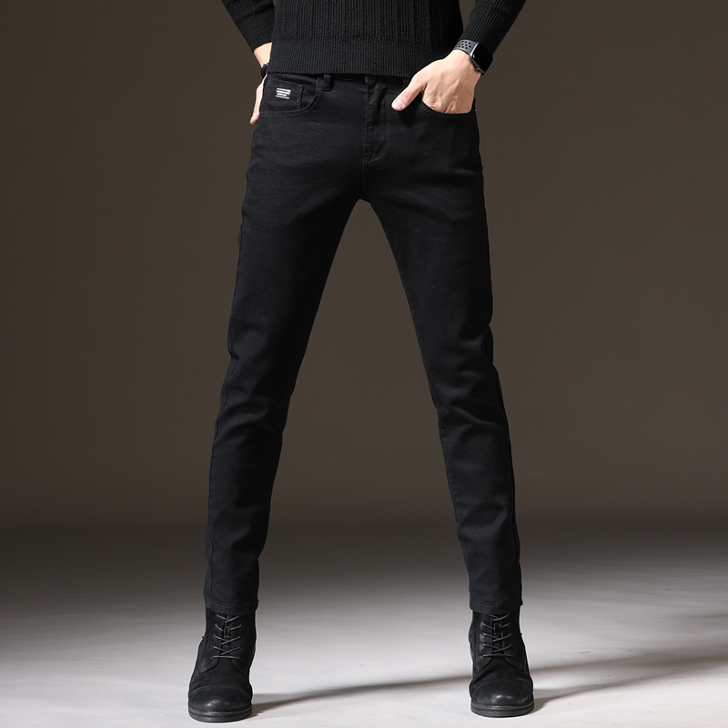 Black jeans mens elastic and slim slim fashion brand small leg pants mens autumn and winter casual solid color Korean fashion pants