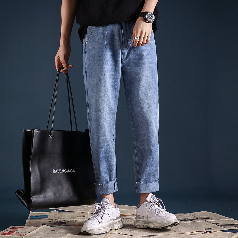 Spring and summer dad jeans mens loose Hong Kong Style ins pants mens Korean Trend solid color straight tube nine point wide leg