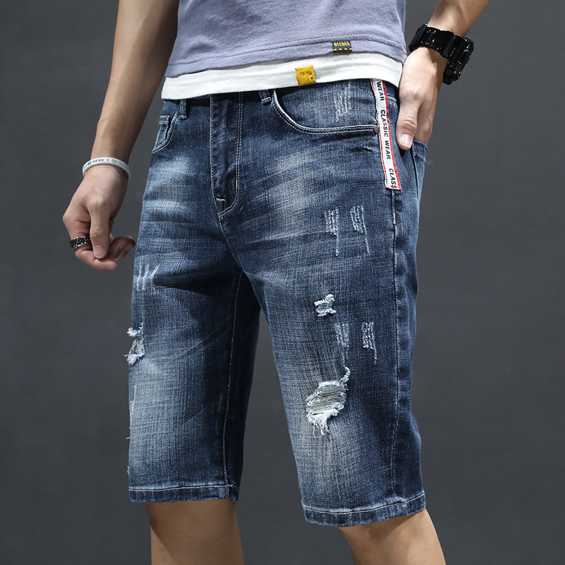 2020 summer thin denim shorts mens 7-point jeans boys summer 7-point pants in 5-point pants