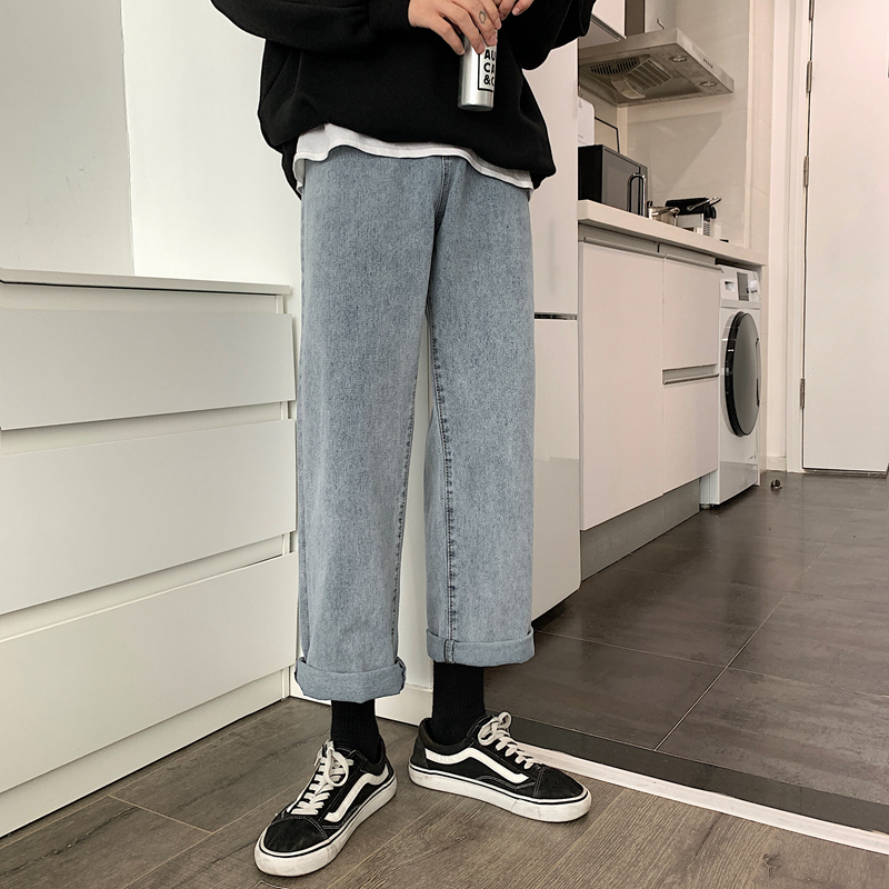 Super fire CEC pants mens loose ins straight tube tide brand trend Hong Kong style retro wide leg pants student cowboy