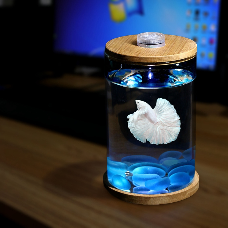 斗鱼缸迷你小型玻璃鱼缸桌面微景观赏办公室水族箱生态瓶鱼缸包邮,可领取3元天猫优惠券
