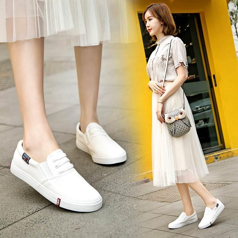 Spring canvas shoes flat white shoes womens shoes lazy little white summer cloth shoes no shoelace no shoelace lazy man