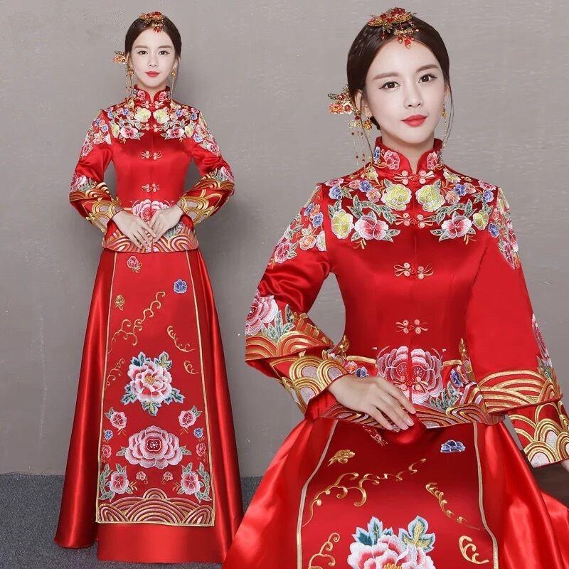 ウェディングドレスのショー禾服の花嫁は、ウェディングドレスの女性は、赤いドレスの中国式のドレスは、龍鳳の中国服です。