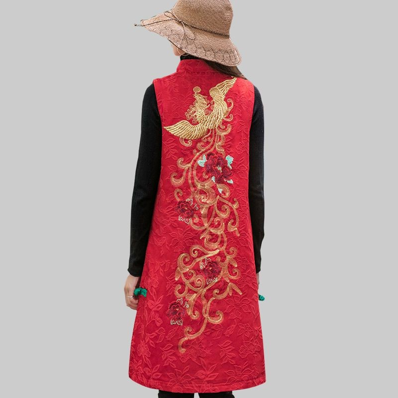 Spring and autumn new coat womens National Style Embroidered Tang style vest in the long middle-aged womens mother dress retro horse.