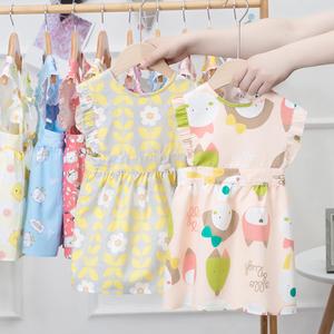儿童围裙防脏防水宝宝女童画画围兜洋气公主饭兜韩版小孩吃饭罩衣