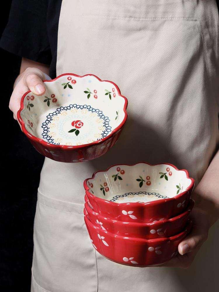可爱い碗の精致な小さい碗のミニの女子学生は超萌碗の家庭用陶磁器の碗のネットの赤い金の韓版のins风格を超えます。