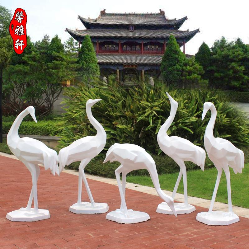 玻璃钢块面几何仙鹤摆件抽象切面丹顶鹤动物雕塑公园假山水池摆设