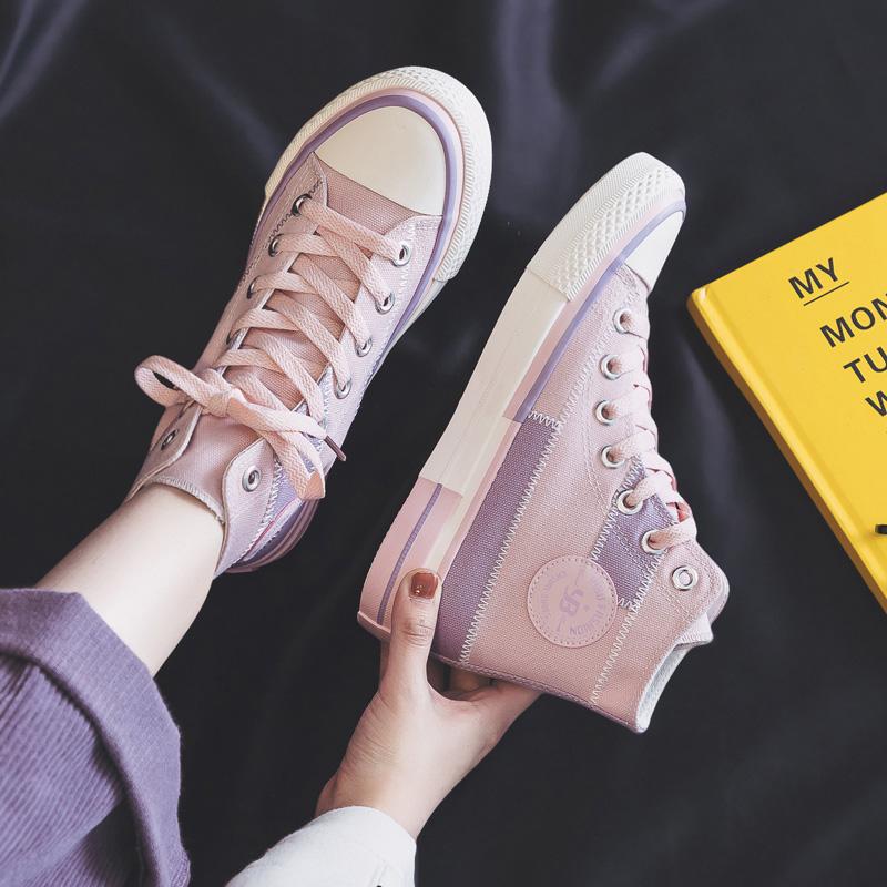 春夏季新款紫色高帮帆布鞋女鞋百搭初中大童学生高腰球鞋少女板鞋
