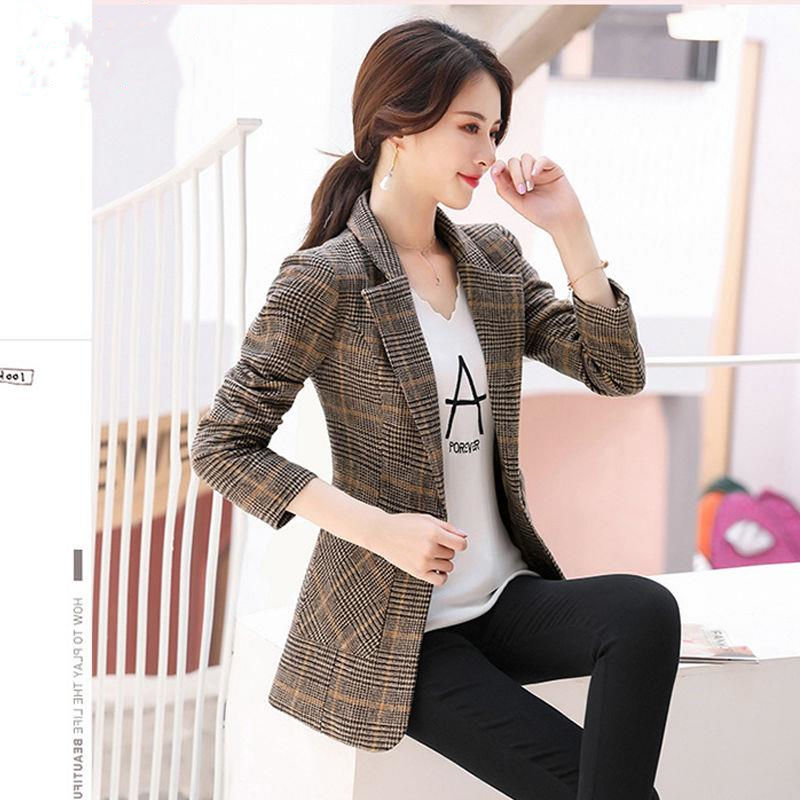 Retro Blazer Jacket Womens 2020 spring and autumn new net red large loose casual Plaid suit top lady