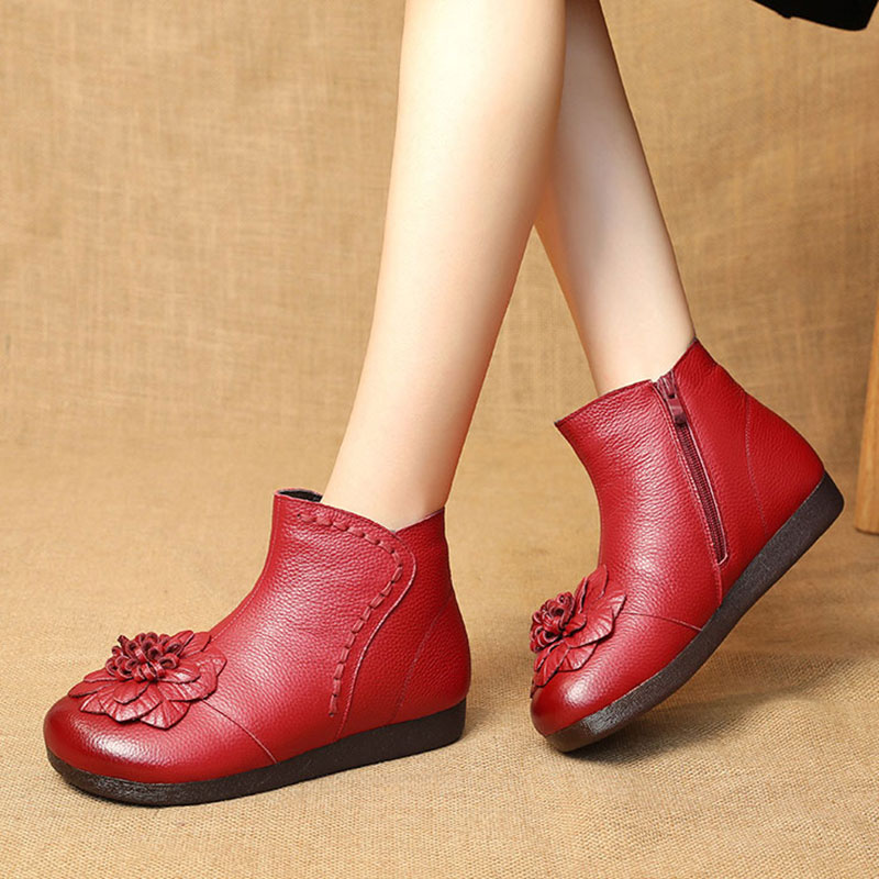 Fuyan mother shoes soft soled womens comfortable autumn and winter national style cow tendon soled womens shoes with plush warm boots