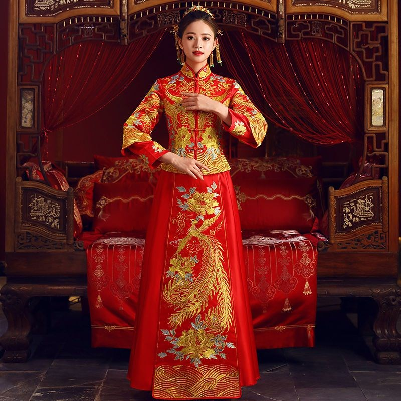 Xiuhe brides 2019 new womens toast dress large Chinese wedding dress wedding show kimono