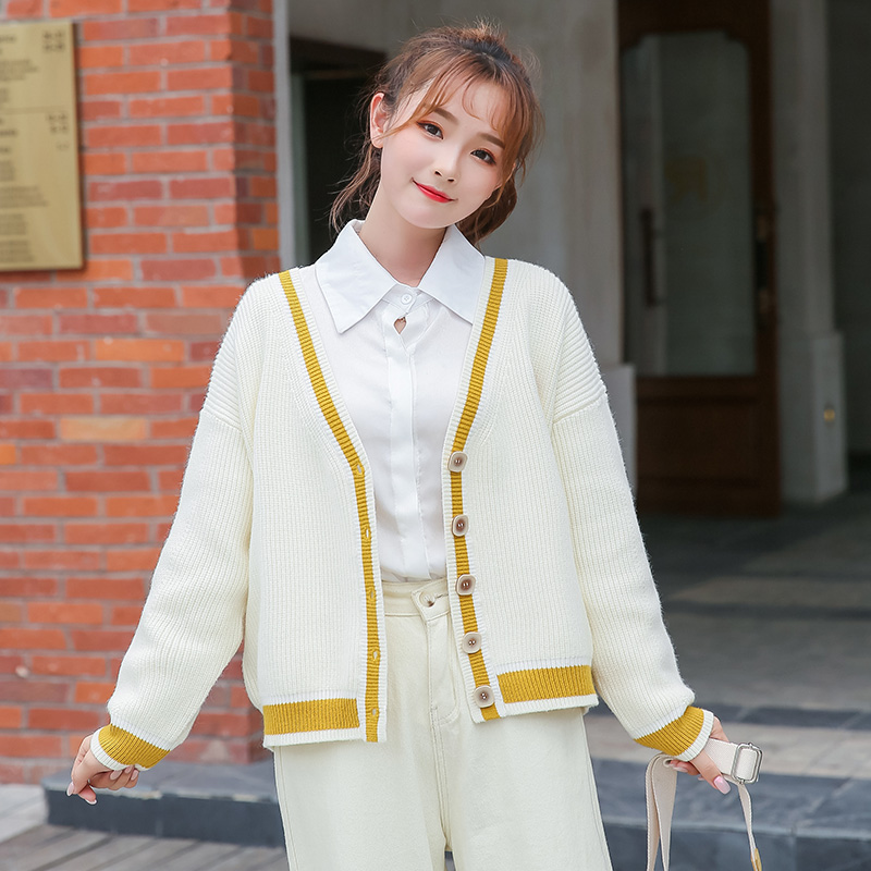 Net red knitted cardigan sweater Korean version versatile loose coat female V-neck embroidery lazy wind show thin coat