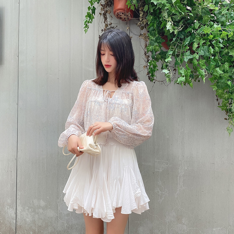 Early summer 2020 new lace up Floral Chiffon Blouse womens long sleeve Korean thin shirt blouse