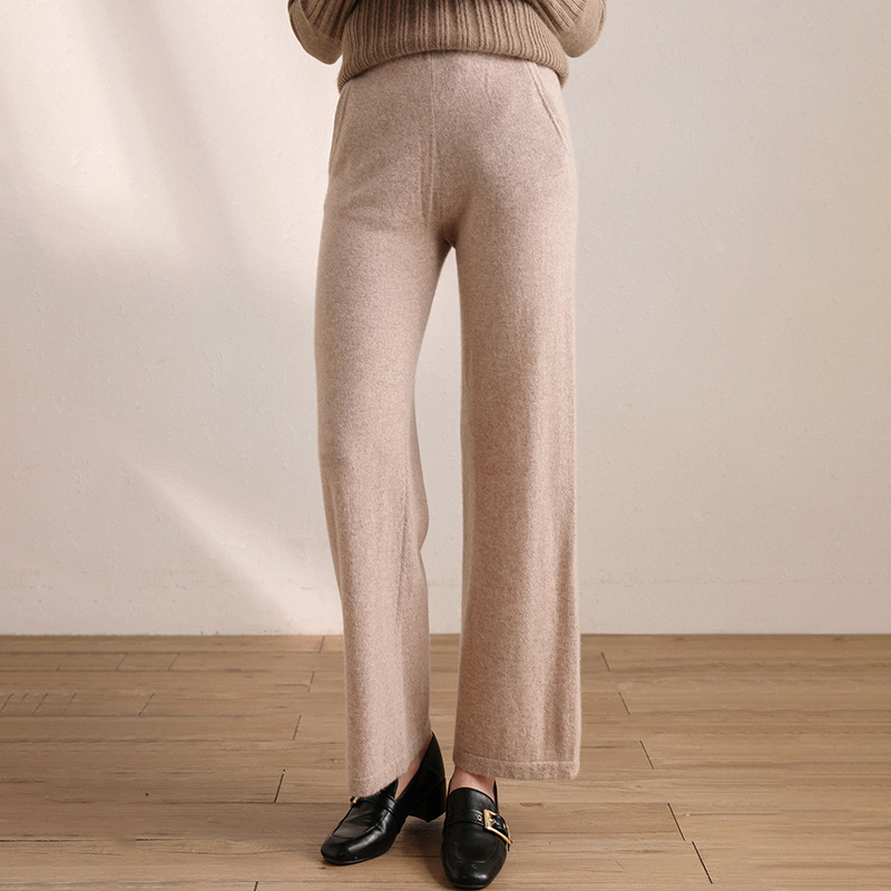 Autumn and winter 2020 100% Cashmere wide leg pants for women, comfortable and breathable, pure color, drooping, thin and versatile casual pants