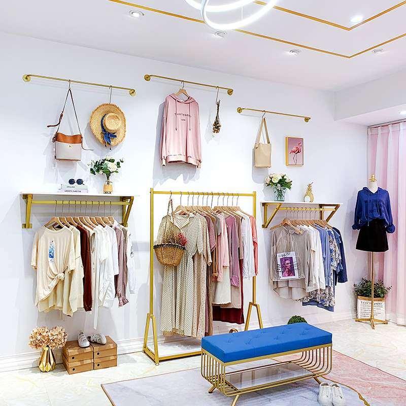女装服饰衣架成套家具服装店展示架上墙壁挂式挂简约店展示架金色