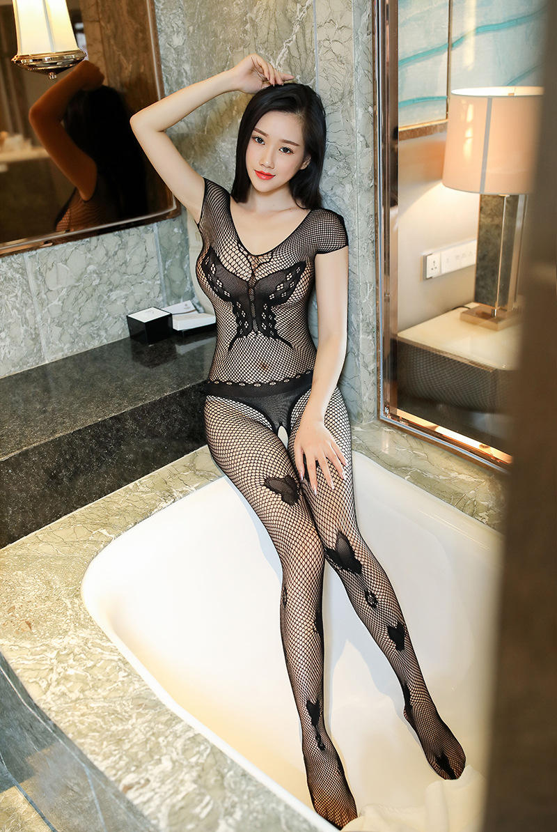 One piece large mesh embroidered silk stockings short sleeve hollow one-piece sexy clothes lure stop bow stockings jacquard code open