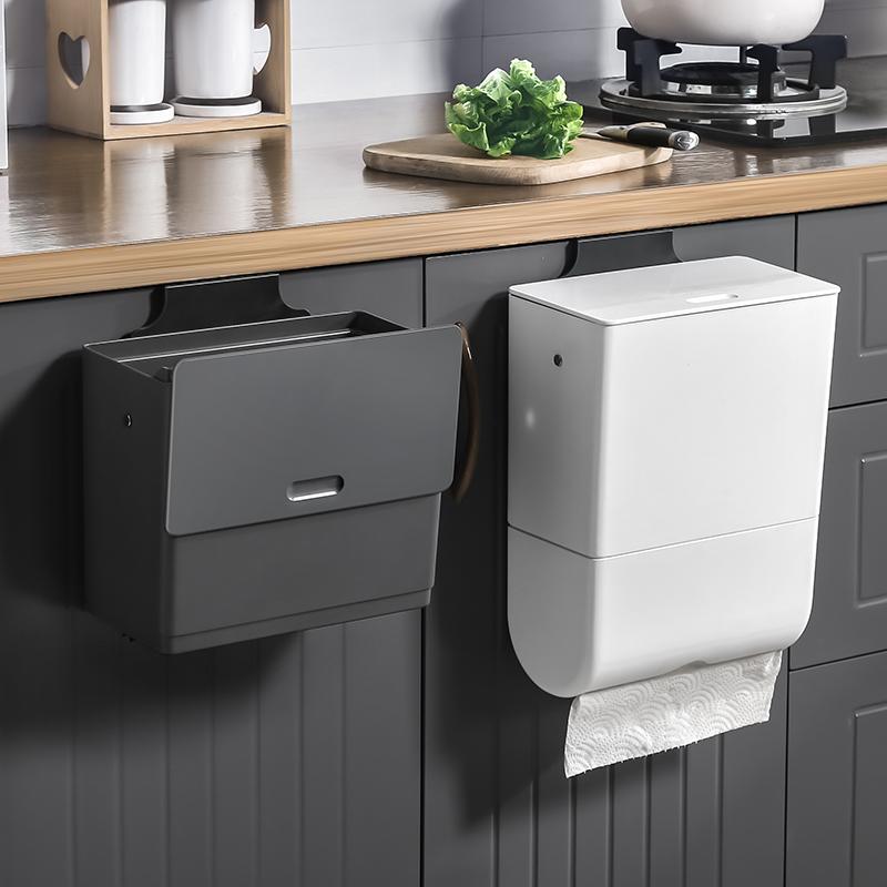 厨房垃圾桶橱柜门壁挂式家用带盖防臭卫生间厨余创意悬挂式收纳筒