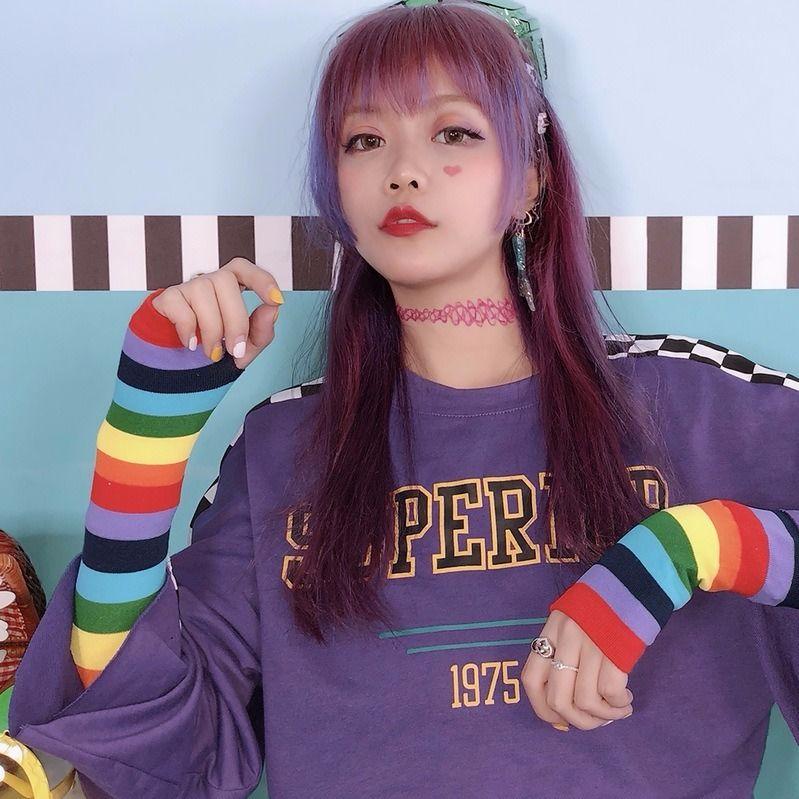 不包邮韩国ins新款夏季冰袖防晒女可爱泫雅风原宿风冰丝彩虹袖套胳膊套