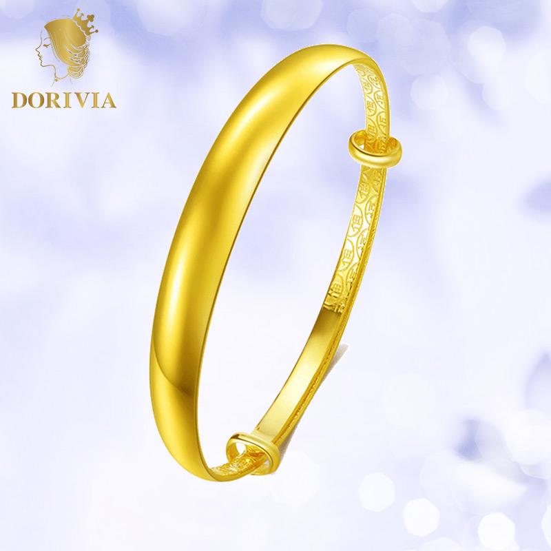 Dorivia gold bracelet womens push pull gold bracelet solid gold 999 pure gold smooth face aperture