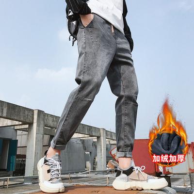 秋冬款加绒牛仔裤男修身小脚男士弹力休闲长裤子男K191加绒-P60