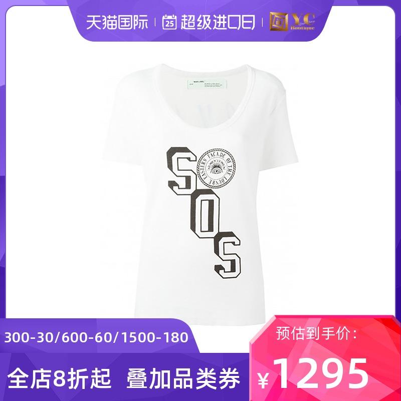 off-white新款女装棉质修身刺绣印花短袖T恤