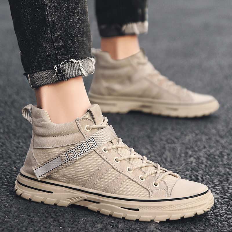 Mens shoes Martin boots mens fashion 2019 high top British tooling boots Korean versatile autumn low top canvas Martin shoes