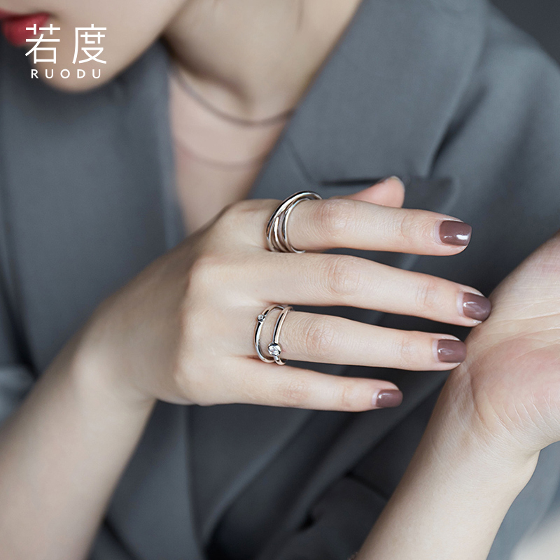 Jordan ring Female Minority design simple opening adjustable double index finger single ring fashion personality ring