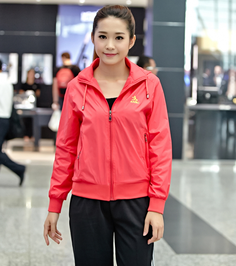 Spring and autumn leisure sports hooded windbreaker coat middle aged mother womens single top work clothes Square clothing