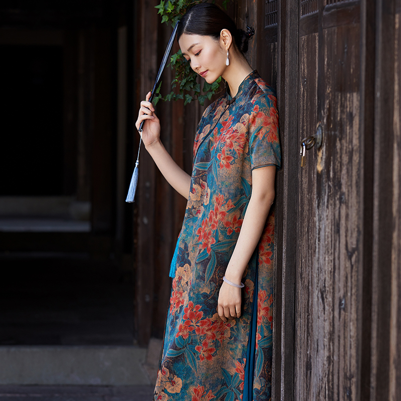 Vdiur early spring heavy fragrant cloud dress womens middle long Ladys mulberry silk long skirt two-piece set