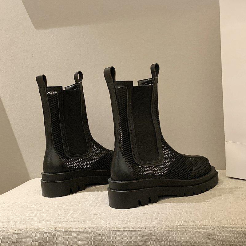 2021新款夏季百搭薄款透气切尔西短靴中筒靴厚底显瘦马丁靴女英伦