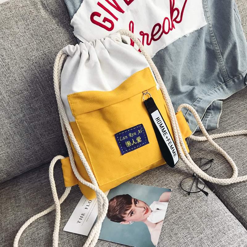 束口袋双肩包女2020新款背包男大容量运动学生书包轻便帆布旅行包