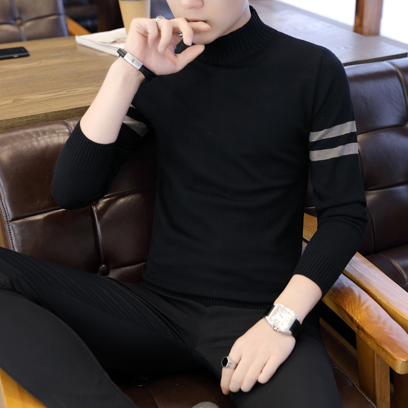 半高领毛衣男春夏季新款宽松薄款秋衣纯色学生线衣长袖针织衫圆领