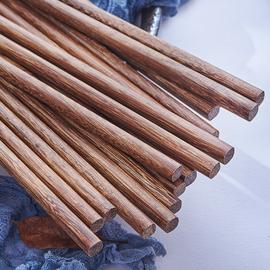 芙盼红檀鸡翅木筷子家用无漆无蜡实木筷子10双装家庭木质餐具图片